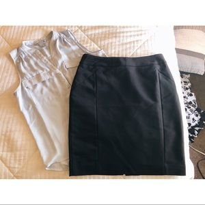 black h&m fitted skirt